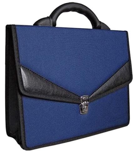 Портфель, ткань и кожзам, синий, ЛАДОГА
